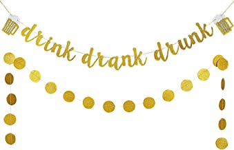 Gold Glittery Drink Drank Drunk Banner and Gold Glittery Circle Dots Garland(25pcs Circle Dots)-Bar Sign Bachelorette Wedding Birthday Party Decoration