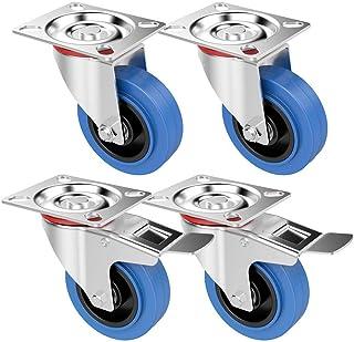 Yaheetech 4 stuks transportwielen zwenkwielen 100 mm zware wielen 2 met rem industriële wielen, 180 kg belastbaar