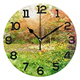 Clock Number Bright Flowered Grasses 9.84' Silent Non Ticking Wall Clock Battery Operated PVC Round Numerals Clock Painting Decorative for Home, Living Room, Bedrooms Walls Decor