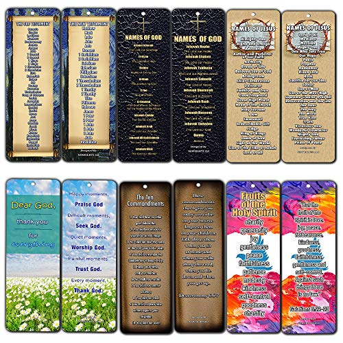 Christian Bookmarks - Books of The Bible Bookmarks Cards 30-Pack - Ten Commandments - Names of God Jesus - Fruits of The Spirit
