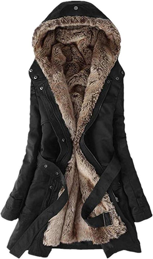 UOFOCO Ladies Winter Warm Thick Long Jacket Fur Lining Coat Womens Hooded Parka Coat