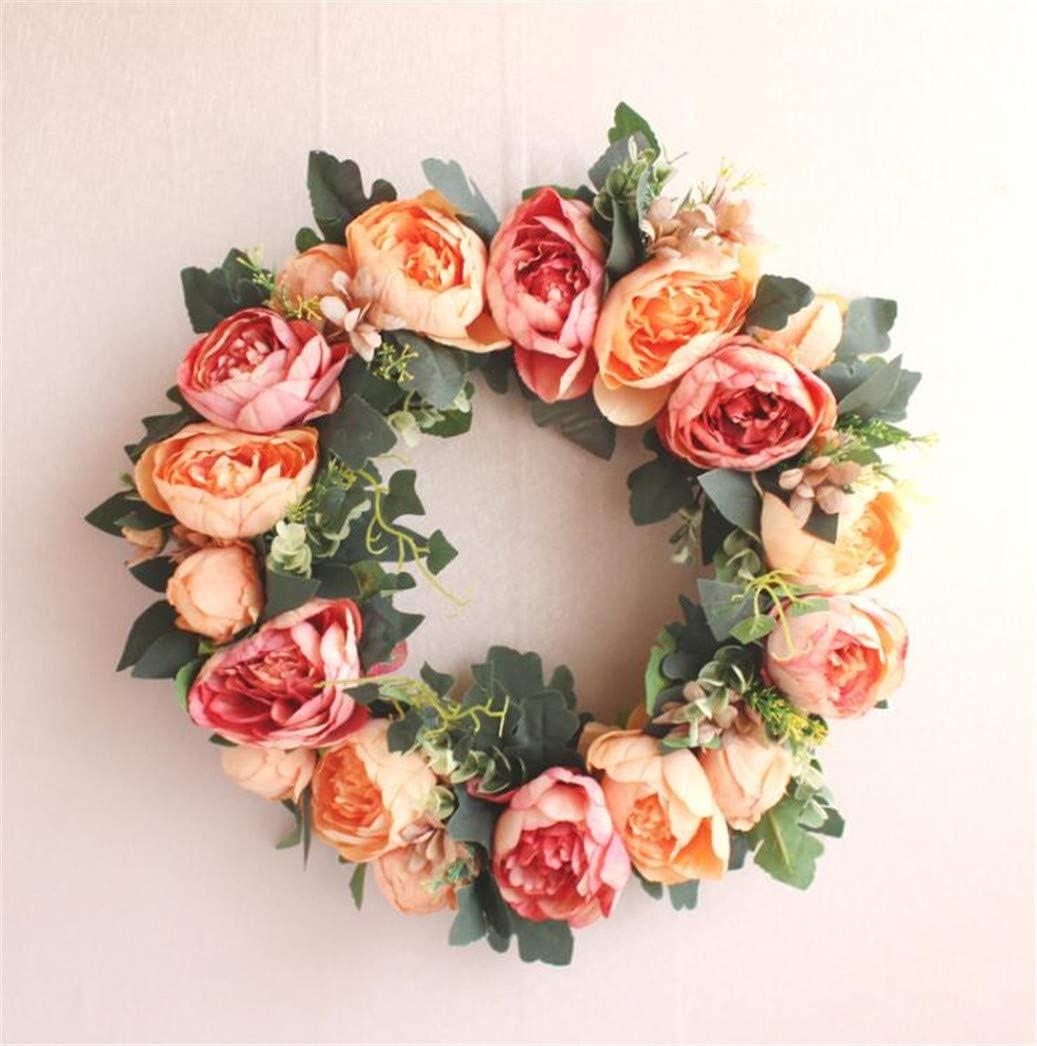 LYFWL Minneapolis Mall Artificial Peony Flores Christmas Flowe Door Wreath Soldering Lintel