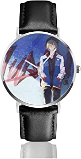 GASDFEFSD Unisex Man's Woman School Fashion Yuri ON ICE Anime Watches Quartz Leather Watch with Black Leather Band Gift
