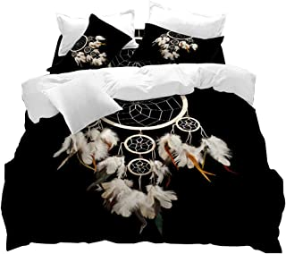 VITALE Duvet Cover Set, Dreamcatcher Printed King Size Duvet Cover, Black 3D Dream Catcher Printed 3 Pieces King Size Bedding Set, Indian Ethtic Style Home Decor