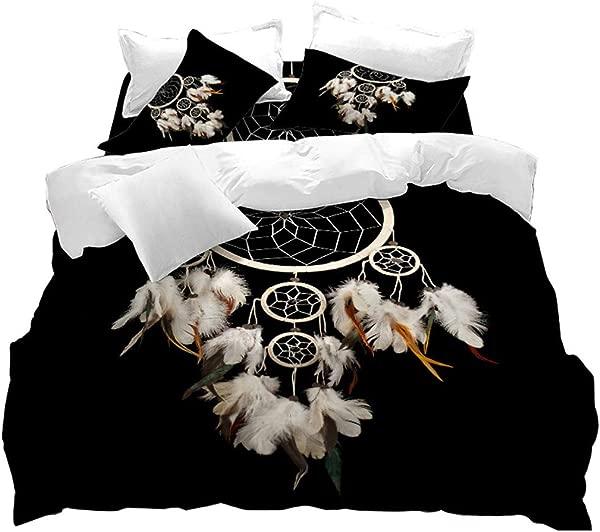 VITALE Duvet Cover Set Dreamcatcher Printed Queen Size Quilt Cover Set Black 3D Dream Catcher Printed 3 Pieces Queen Size Bedding Set Kids Indian Ethtic Style Home Decor