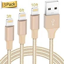 Lightning Cable Apple Certified - Quntis iPhone Charger 3Pack 3ft 6ft 10ft Nylon Braided USB Fast Charging Cord Compatible with iPhone 11 Pro X Xs Max XR 8 7 6 Plus iPad Pro Airpods and More, Gold