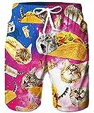 Mesh Liner Board Shorts for Men Funny Pizza Cat Animal Graphics Swim Trunks 80s Youth Male Summer Stylish Burrito Taco Hawaiian Beach Boardshorts with 2 Pockets Holiday Sports Bathing Suits, Kitty XL