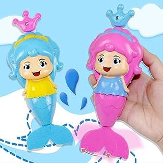 Zpong 2Pcs Baby Bath Toys Set Cute Cartoon Animal Mermaid Clockwork Dabbling Classic Swimming Water Wound Up Chain Bathroo...