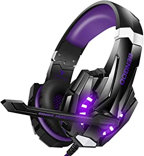 BENGOO Stereo Gaming Headset for PS4, PC, Xbox One Controller, Noise Cancelling Over Ear Headphones Mic, LED Light, Bass Surround, Soft Memory Earmuffs for Laptop Mac Nintendo Switch (Purple)