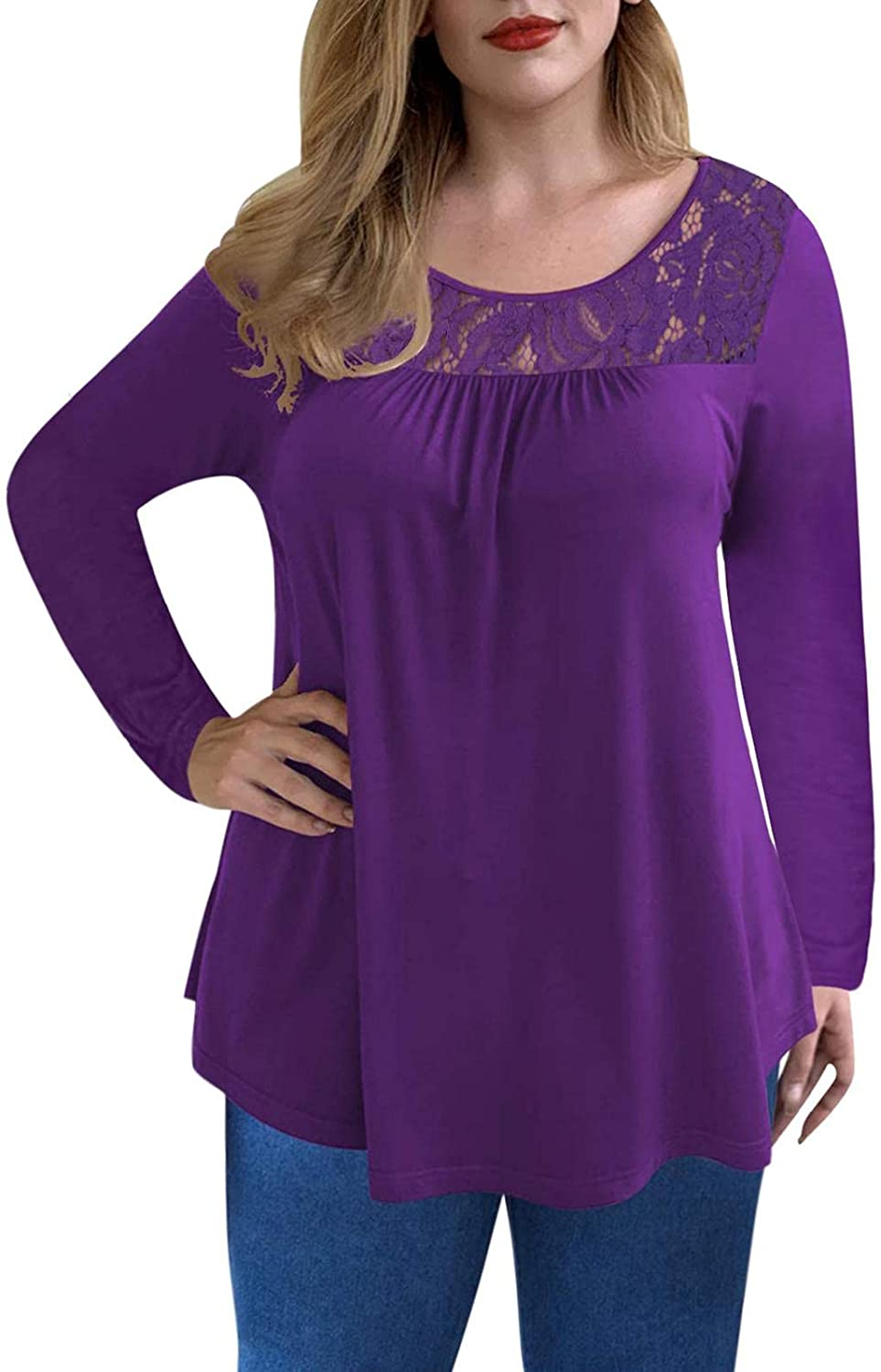 Women's Long Sleeve Tops Curved Hem Flowy Pleated Tunic Shirt Solid Color Lace Casual Loose Blouses T Shirts