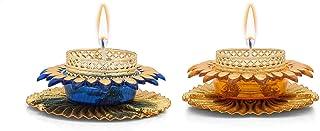 CraftVatika Set of 2 Artificial Assorted Mix Color Tealight Round Metallic Diya Tea Light Candle Holder for Home Articles ...