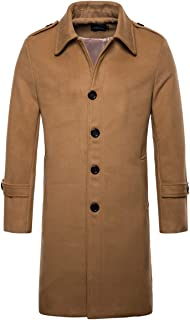 Men's Mid Long Wool Blend Pea Coat Single Breasted Overcoat Winter Trench Coat