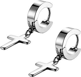 Men's Womens Vintage Stainless Steel Silver Cross Dangle Hinged Hoop Earrings, Stainless Steel Hoop Huggie Earrings Cross Drop Dangle Earrings