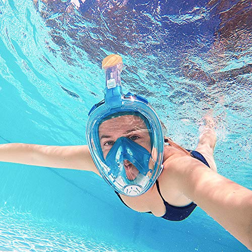 G2RISE SN02 Full Face Snorkel Mask Breath Easy Airflow System with Minimal Volumetric Flow Rate /& 180/° Panoramic View with Integrated Lens Design for a Safe Adults//Kids Snorkeling Experience