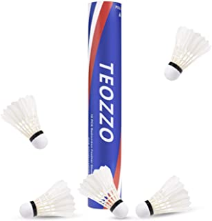 TEOZZO Goose Feather Badminton Shuttlecocks Pack of 12, Stable and Sturdy High Speed Badminton Shuttles, Training Shuttlecock for Indoor and Outdoor Sports