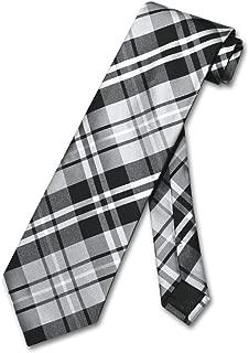 NeckTie Black Gray White PLAID Design Men's Neck Tie