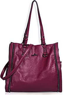 Angelkiss Women's Soft PU Leather Classic Tote Bag Top Handle Shoulder Handbags and Purses with Zipper