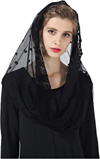 Catholic Mantilla Veil Cathedrals Church Chapel Lace Veil Easter Latin Mass Vintage Scarf Head Covering Off White Black