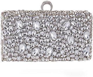 Handbag - Retro Square Acrylic Diamond-encrusted Ladies' Banquet Handbag, Multi-function Detachable Chain Dinner Bag, Black/silver, 23x6x15.5cm Shining (Color : Silver)