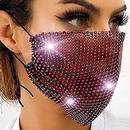 Woeoe Shiny Crystal Mesh Mask Elastic Red Rhinestone Masquerade Masks Halloween Ball Party Nightclub Jewelry for Women and Girls