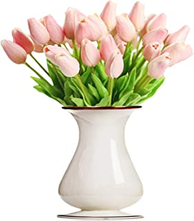 Bossrandy Artificial Tulips Real Touch Fake Latex Flowers 15 Pcs Eco-Friendly Holland Mini Tulip for Wedding Decor DIY Home Party(Pink)