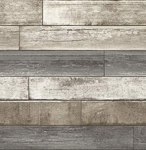 BHF fd22345'Taupe di legno riciclato Plank invecchiata carta da parati, colore: grigio