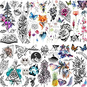Yezunir 6 Sheets Watercolor Flower Temporary Tattoos For Women Girls Small Lavender Sweetpea Diamond Glitter Face Fake Tattoos Temporary Women Rose Floral Geometric Butterfly Feather Birds Tatoos Set
