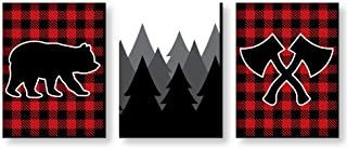 Big Dot of Happiness Lumberjack - Channel the Flannel - Buffalo Plaid Nursery Wall Art, Rustic Kids Room Decor and Cabin Home Decorations - Christmas Gift Ideas - 7.5 x 10 inches - Set of 3 Prints