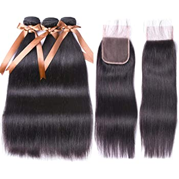 "ALLRUN Brazilian Virgin Human Hair 3 Bundles With (4x 4) Lace Closure Straight Wave Weft 100% Real Human Hair Extensions Natural Color (18 20 22+16"" Closure)"