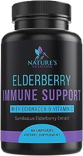 Immune Support Supplement with Elderberry, Vitamin C, Zinc, and Echinacea 1120 mg - Extra Strength Sambucus Nigra Pills - Made in USA - Best Daily Vitamin with Turmeric and Probiotics - 60 Capsules