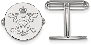 Solid 925 Sterling Silver William and Mary Cuff Link (15mm x 15mm)