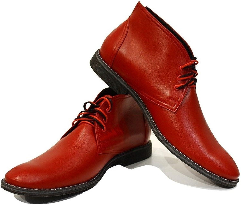 Peppeschuhe Modello Cleto - Handgemachtes Italienisch Bunte Herrenschuhe Lederschuhe Herren Rot Stiefeletten Chukka Stiefel - Rindsleder Weiches Leder - Schnüren