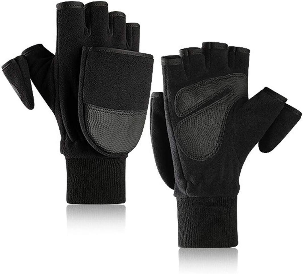 Lupovin-Keep Warm Fleece Strong Gloves Men's Flip Finger Plus Velvet Dense Fingerless Touch Screen Motorcycle Gloves Winter Warmer Non-Slip (Color : M)