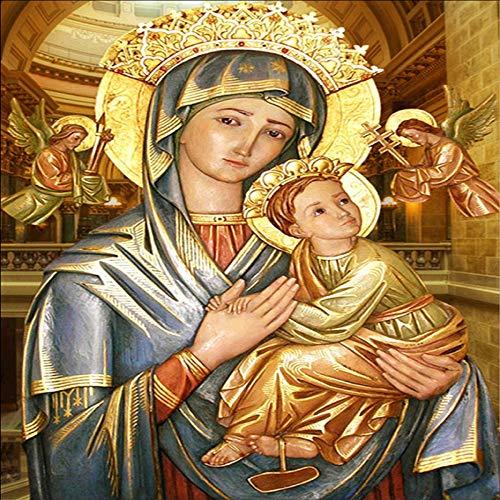 baodanla Sin Marco Virgen y el Niño decoración del hogar Pintura al óleo a1 60x90cm