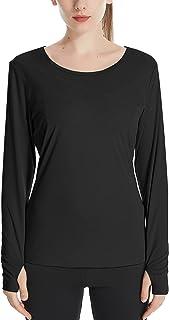 COOrun Sportshirt met lange mouwen voor dames, ademend sweatshirt, elastisch, yoga, sporttop met duimgaten, S-XXL
