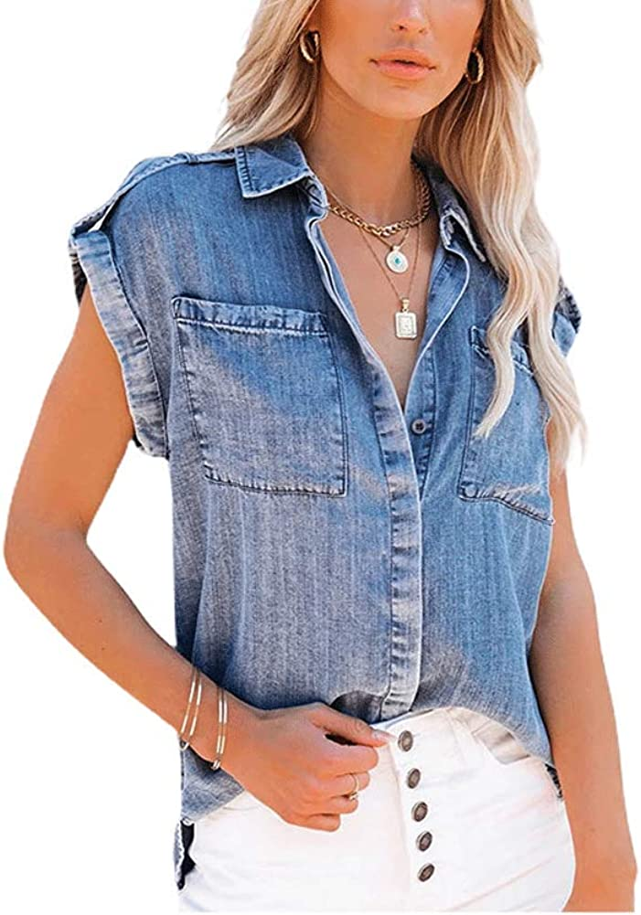 chouyatou Women's Casual Distressed Button Down Sleeveless Denim Jean Shirt Tank Tops