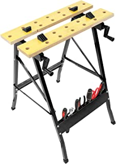 Work-It! Portable Workbench, Folding Carpenter Saw Table with Adjustable Clamps - Easy to Transport with Heavy-Duty Steel Frame, 150 Lbs Capacity