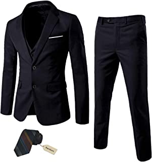 Men's 3 Piece Suit Notch Lapel 2 Button Blazer Slim Fit Dress Business Wedding Party Jacket Vest Pants & Tie Set