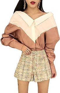 (ライチ) Lychee シャツ レディース Vネック 長袖 ミックスカラー 可愛い おしゃれ 通勤 ファッション カジュアル