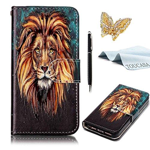 TOUCASA Huawei P8 Lite 2017 Handyhülle, Huawei P8 Lite 2017 Hülle, Geprägtes Buntes Tier und Blume Premium PU Leder Flip Wallet Hülle für Huawei P8 Lite 2017-Goldener Löwe