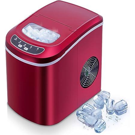 VAZILLIO Machine à Glaçons, 9 pcs en 6 Minutes, 15kg en 24 heures, 2 Tailles de Glaçons, 2.2L Réservoir d'Eau avec Pelle et Panier, Machine à Glaçons pour la Maison/l'Office - Rouge