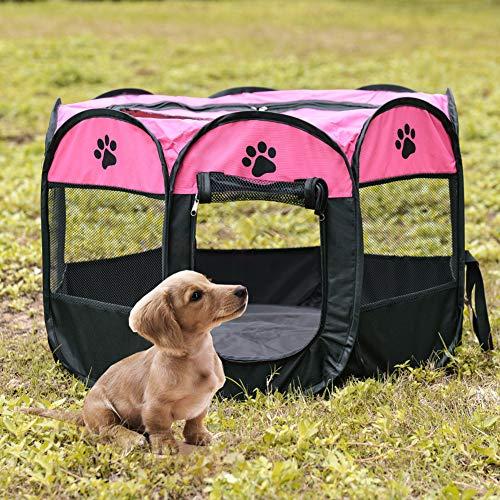 ZSooner Tienda de campaña para mascotas, cama plegable para mascotas, impermeable y resistente a los arañazos, octogonal, tela Oxford portátil, cama grande para mascotas