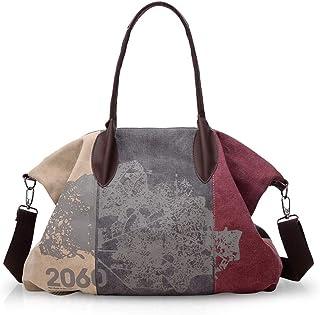 NICOLE & DORIS Canvas Damen Handtasche Henkeltaschen Tragetaschen für Frauen große Schultertasche Damen Hobo Tasche Lila