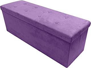 Sorbus Storage Ottoman Bench – Collapsible/Folding Bench Chest with Cover – Perfect Toy and Shoe Chest, Hope Chest, Pouffe Ottoman, Seat, Foot Rest, – Contemporary Faux Suede (Large-Bench, Purple)