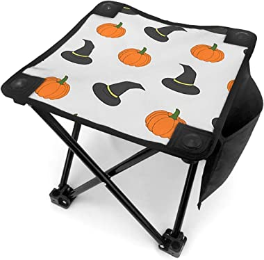 YOSULAZA Mini Camping Halloween Pumpkin and Witch Hat Folding Chairs, 1.6lb of Weight Fishing Chair for Outdoor Camping Walki