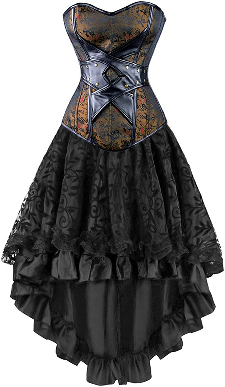Seynnaod Gothic Victorian Steampunk Corset Dress Leather Corsets and Bustiers
