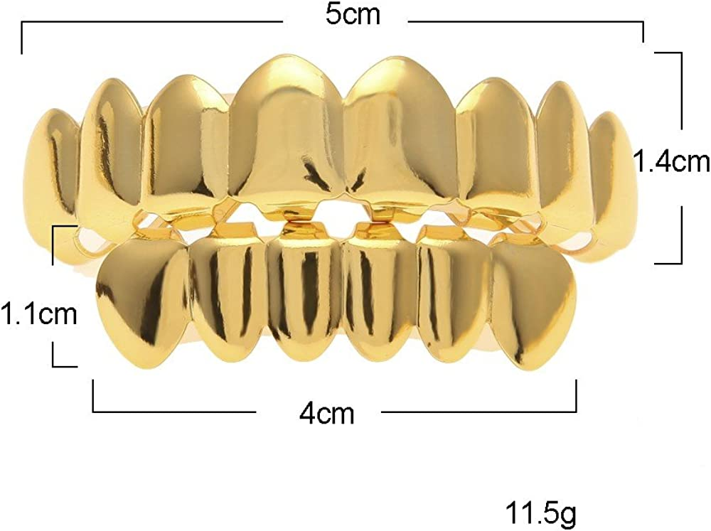 17Rainbow Gold Plated Bling Bling Top Bottom Hip Hop Teeth Grillz - with Edible Silicone Molding Bars and Tweezer