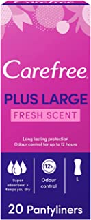 CAREFREE Daily Panty Liners, Plus Large, Fresh Scent, Pack of 20