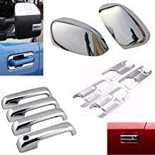 EZ Motoring Chrome Top Half Mirror Cover + 4 Door Handle Covers + Back Plate fit 2017-2020 Ford F250 F350 F450 Super Duty (NOT fit F150)