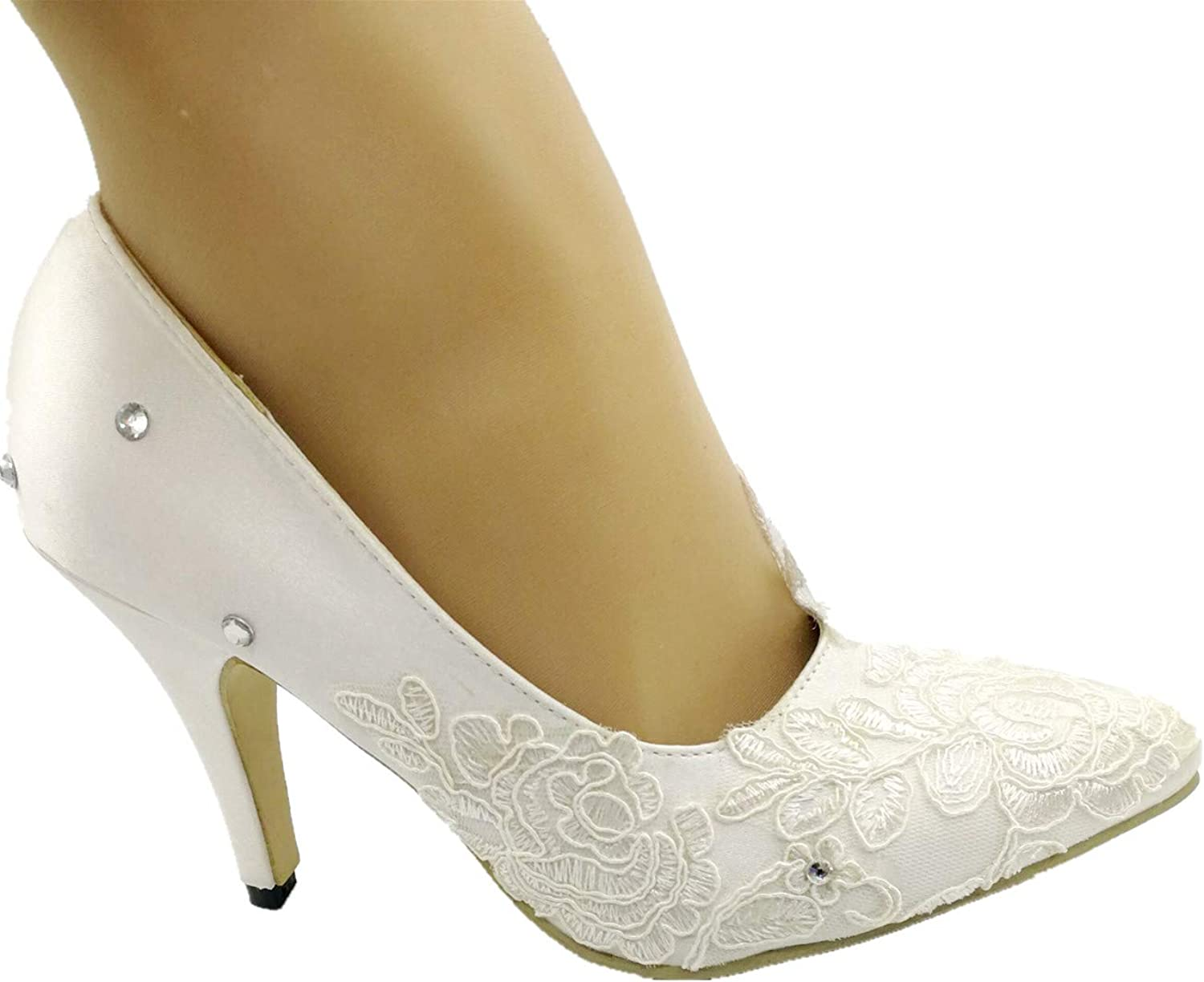 Sweet Women New fathion Heel Satin White Ivory lace Wedding shoes